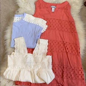 Bundle of 3 girls XS tops and dress